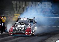 Jun 19, 2015; Bristol, TN, USA; NHRA funny car driver Tim Wilkerson during qualifying for the Thunder Valley Nationals at Bristol Dragway. Mandatory Credit: Mark J. Rebilas-