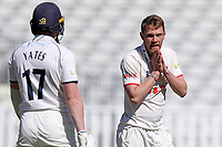 Jamie Porter of Essex looks back towards Rob Yates after a failed appeal during Warwickshire CCC vs Essex CCC, LV Insurance County Championship Group 1 Cricket at Edgbaston Stadium on 23rd April 2021