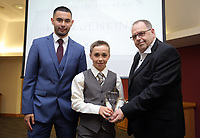 Pictured: Under 13 winner Kian Jenkins (C) Saturday 27 May 2017<br /> Re: Swansea City FC Academy Awards Evening at the Liberty Stadium, Wales, UK