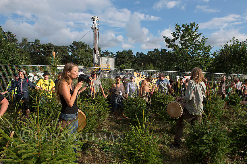 Activists and villagers protest against drilling by fracking company Cuadrilla in Balcome Sussex. 18-8-13