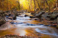 A small unnamed stream in the White Mountains becomes awash with color in the morning sunlight.  This stream is roadside in Jefferson, NH, but is easy to miss, and usually not impressive.  The incessant rainfall recently has provided some unique opportunities this year during peak foliage!