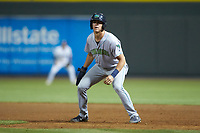 Nolan Jones (10) of the Lynchburg Hillcats takes his lead off of first base against the Winston-Salem Dash at BB&T Ballpark on May 9, 2019 in Winston-Salem, North Carolina. The Dash defeated the Hillcats 4-1. (Brian Westerholt/Four Seam Images)