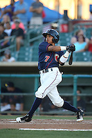 Antonio Nunez (7) of the Lancaster JetHawks bats against the San Jose Giants during the second game of a doubleheader at The Hanger on July 14, 2016 in Lancaster, California. Lancaster defeated San Jose, 3-0. (Larry Goren/Four Seam Images)