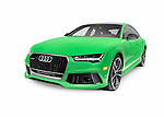 Green 2016 Audi RS 7 Prestige Quattro Sedan luxury car isolated on white background with clipping path Image © MaximImages, License at https://www.maximimages.com