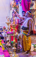 Hindu Temple, Sri Maha Mariamman, Priest Performing Ritual during Navarathri Celebrations, George Town, Penang, Malaysia.