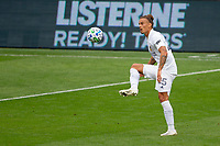 LOS ANGELES, CA - OCTOBER 25: Rolf Feltscher #25 of the Los Angeles Galaxy traps the ball during a game between Los Angeles Galaxy and Los Angeles FC at Banc of California Stadium on October 25, 2020 in Los Angeles, California.