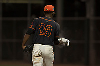 AZL Giants Black relief pitcher Aneudy Acosta (29) uses the rosin bag during an Arizona League game against the AZL Athletics at the San Francisco Giants Training Complex on June 19, 2018 in Scottsdale, Arizona. AZL Athletics defeated AZL Giants Black 8-3. (Zachary Lucy/Four Seam Images)