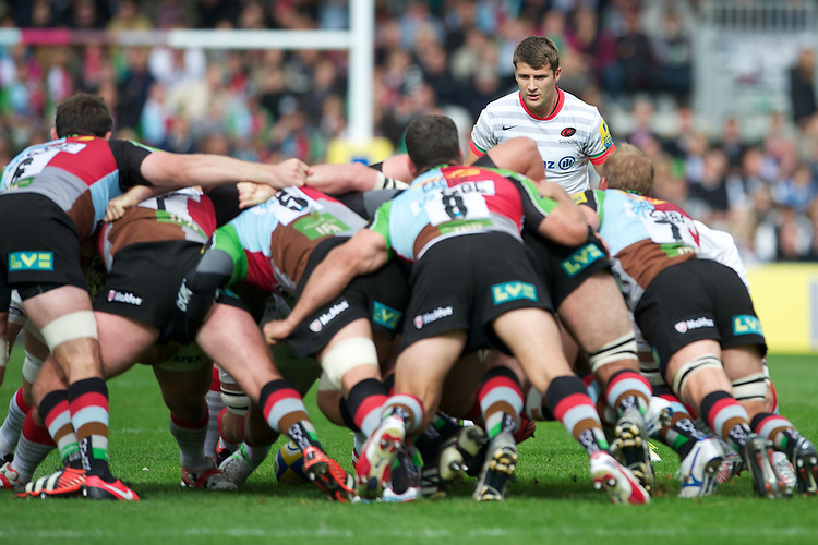 Richard Wigglesworth of Saracens watches as Harlequins dominate the set piece during the Aviva Premiership match between Harlequins and Saracens at the Twickenham Stoop on Sunday 30th September 2012 (Photo by Rob Munro)