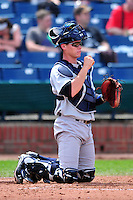 Trenton Thunder catcher Peter O'Brien #37 during a game versus the Portland Sea Dogs at Hadlock Field in Portland, Maine on May 17, 2014. (Ken Babbitt/Four Seam Images)