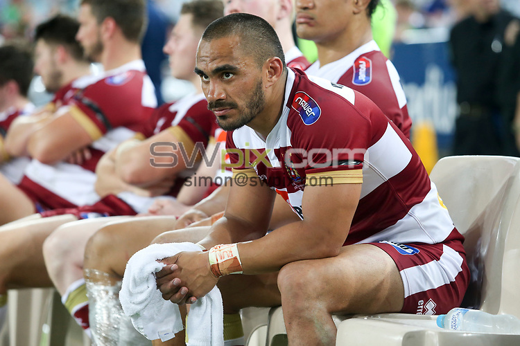 Picture by David Neilson/SWpix.com/PhotosportNZ - 17/02/2018 - Rugby League - Trial Match - South Sydney Rabbitohs v Wigan Warriors - ANZ Stadium, Sydney, Australia - Wigan's Thomas Leuluai dejected after his side's loss to the South Sydney Rabbitoh's