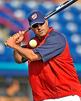 13 March 2008: Washington Nationals' Manager Manny Acta taps out some infield grounders prior to a Spring Training game against the Florida Marlins at Space Coast Stadium, in Viera, Florida. The Marlins defeated the Nationals 2-1 in the Grapefruit League matchup...Mandatory Photo Credit: Ed Wolfstein Photo