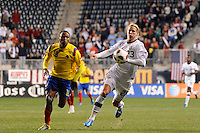 Brek Shea (23)  of the United States (USA) and Camilo Zuniga (18) of Colombia (COL). The men's national teams of the United States (USA) and Colombia (COL) played to a 0-0 tie during an international friendly at PPL Park in Chester, PA, on October 12, 2010.