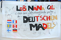 20200307  Lagos , Portugal : German banner pictured during the female football game between the national teams of Germany and Norway on the second matchday of the Algarve Cup 2020 , a prestigious friendly womensoccer tournament in Portugal , on saturday 7 th March 2020 in Lagos , Portugal . PHOTO SPORTPIX.BE | STIJN AUDOOREN