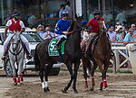 August 07, 2021: Maxfield #5, ridden by jockey Jose Ortiz. in the post parade before the Grade 1 Whitney Stakes at Saratoga Race Course in Saratoga Springs, N.Y. on August 7, 2021. Robert Simmons/Eclipse Sportswire/CSM