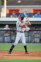 Drew Waters (12) of the Danville Braves at bat against the Burlington Royals at Burlington Athletic Stadium on August 12, 2017 in Burlington, North Carolina.  The Braves defeated the Royals 5-3.  (Brian Westerholt/Four Seam Images)