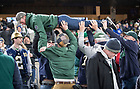 November 17, Notre Dame fans celebrate a touchdown during the Shamrock Series football game against Syracuse in Yankee Stadium, New York. (Photo by Barbara Johnston/University of Notre Dame)