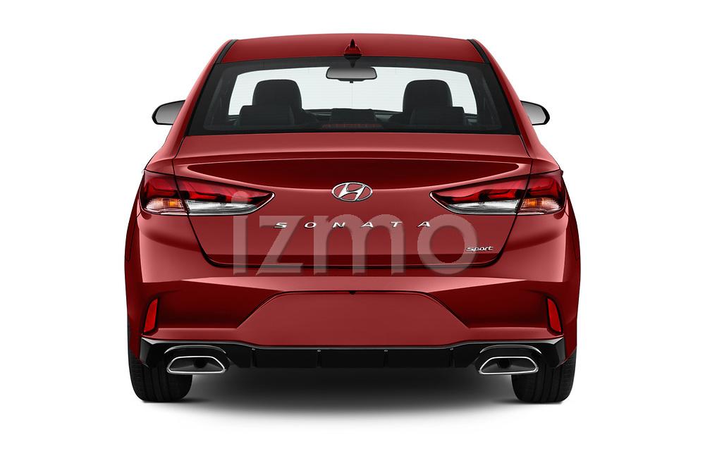 Straight rear view of a 2018 Hyundai Sonata Sport 4 Door Sedan stock images