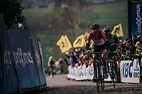 Jelle Wallays (BEL/Lotto-Soudal) & Alex Kirsch (LUX/WB Aqua Protect-Veranclassic) in the first ascent up the Paterberg<br /> <br /> 102nd Ronde van Vlaanderen 2018 (1.UWT)<br /> Antwerpen - Oudenaarde (BEL): 265km