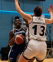 Janice Monakana of Sevenoaks Suns powers towards the basket during the WBBL Championship match between Sevenoaks Suns and Newcastle Eagles at Surrey Sports Park, Guildford, England on 20 March 2021. Photo by Liam McAvoy