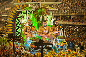 Imperatriz Leopolinense Samba School, Carnival, Rio de Janeiro, Brazil, 26th February 2017. The 'sertanista' float, with huge effigies of the Vilas Boas Brothers - Claudio, Orlando and Leonardo - and the aircraft used in the early days of exploration.
