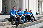 FK Trakai v St Johnstone…05.07.17… Europa League 1st Qualifying Round 2nd Leg<br />Saints fans in Vilnius ahead of kick off, from left, Craig Ligertwood, Mark Robertson, Andy Kennedy and Colin Kennedy from Pitlochry<br />Picture by Graeme Hart.<br />Copyright Perthshire Picture Agency<br />Tel: 01738 623350  Mobile: 07990 594431