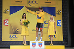 Race leader Fabian Cancellara (SUI) Radioshack-Nissan retains the Yellow Jersey at the end of Stage 2 of the 99th edition of the Tour de France 2012, running 207.5km from Vise to Tournai, Belgium. 2nd July 2012.<br /> (Photo by Eoin Clarke/NEWSFILE)