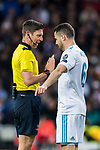 Nacho Fernandez of Real Madrid talks to referee Gianluca Rocchi during the UEFA Champions League 2017-18 Round of 16 (1st leg) match between Real Madrid vs Paris Saint Germain at Estadio Santiago Bernabeu on February 14 2018 in Madrid, Spain. Photo by Diego Souto / Power Sport Images