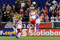 Harrison, NJ - Wednesday Aug. 03, 2016: Alex Muyl, Rodolfo Gonzalez during a CONCACAF Champions League match between the New York Red Bulls and Antigua at Red Bull Arena.