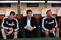 Valencia, Spain. Thursday 19 September 2013<br /> Pictured L-R: Swansea assistant manager Morten Wieghorst, manager Michael Laudrup and coach Alan Curtis<br /> Re: UEFA Europa League game against Valencia C.F v Swansea City FC, at the Estadio Mestalla, Spain,