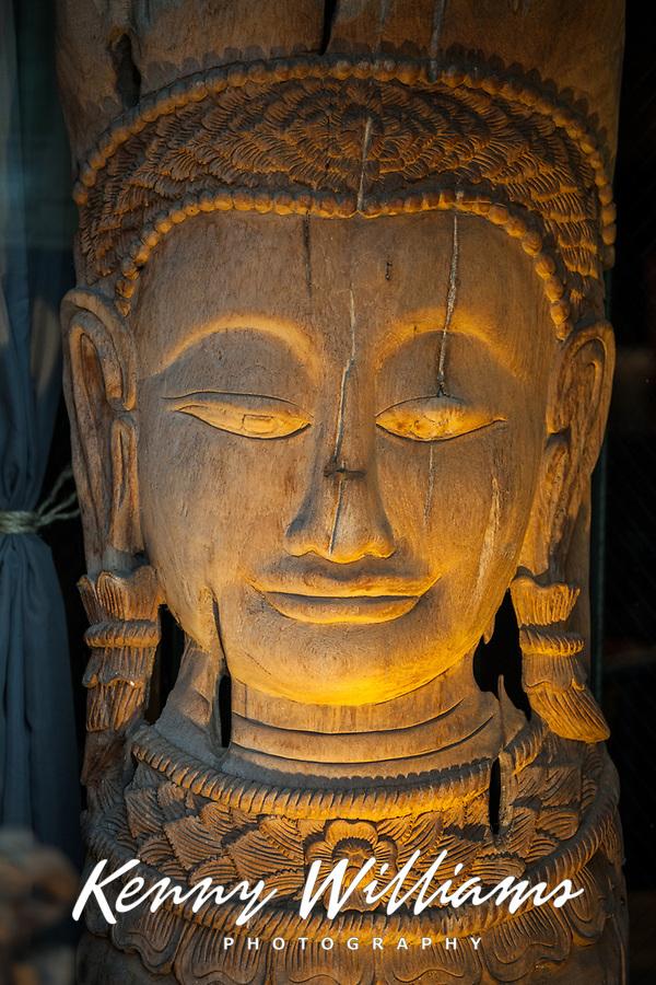 Wood Buddha Statue, Seattle, Washington, USA.