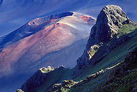 Cinder cone and peak inside the crater of Haleakala National park, Maui