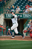 Fort Wayne TinCaps Blake Hunt (12) at bat during a Midwest League game against the Peoria Chiefs on July 17, 2019 at Parkview Field in Fort Wayne, Indiana.  Fort Wayne defeated Peoria 6-2.  (Mike Janes/Four Seam Images)