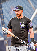 29 July 2017: Colorado Rockies infielder Trevor Story awaits his turn in the batting cage prior to a game against the Washington Nationals at Nationals Park in Washington, DC. The Rockies defeated the Nationals 4-2 in the first game of their 3-game weekend series. Mandatory Credit: Ed Wolfstein Photo *** RAW (NEF) Image File Available ***