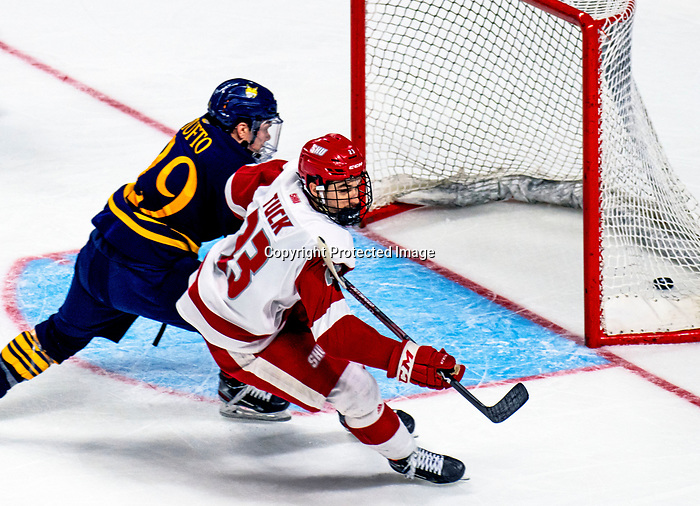 "January 26, 2020: Freshman Braeden Tuck scores an ""empty netter"" as Sacred Heart prevailed 4-1 upsetting the 17th ranked Bobcats of Quinnipiac in the Connecticut Ice Tourney .The inaugural event was held at the Webster Bank Arena in Bridgeport, Connecticut.  Heary/Eclipse Sportswire/CSM"