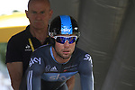 Mark Cavendish (GBR) Sky Procycling waits on the start ramp of the Prologue of the 99th edition of the Tour de France 2012, a 6.4km individual time trial starting in Parc d'Avroy, Liege, Belgium. 30th June 2012.<br /> (Photo by Eoin Clarke/NEWSFILE)