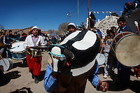 Celebration of Ascencion de la Virgen in the small town of Casabindo in the indigenous highlands of Jujuy province, North West of Argentina. During this colorfull festivity indians play their music and face bulls in a square.