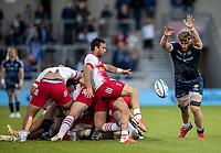 4th June 2021; AJ Bell Stadium, Salford, Lancashire, England; English Premiership Rugby, Sale Sharks versus Harlequins; Dan du Preez of Sale Sharks attempts to block the kick by Martin Landajo of Harlequins