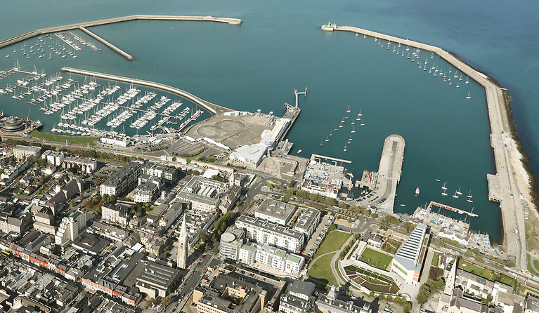 Dun Laoghaire Harbour - an area to the right of the marina has been ruled out as a base for a potential SailGP tour due to bus parking requirements for visiting cruise liners recommencing in 2022.