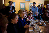 Portsmouth, New Hampshire.January 7, 2008 ..Democratic presidential candidate Sen. Hillary Clinton (D-NY) addresses a table of voters during a campaign stop at Cafe Espresso. Coming off a third place finish in the Iowa caucus Hillary Clinton is looking to rebound in the New Hampshire primary...