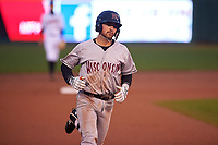 Wisconsin Timber Rattlers Connor McVey (6) rounds the bases after hitting a home run during a Midwest League game against the Lansing Lugnuts at Cooley Law School Stadium on May 2, 2019 in Lansing, Michigan. Lansing defeated Wisconsin 10-4. (Zachary Lucy/Four Seam Images)