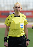 20180302 - LARNACA , CYPRUS : Ukrainian referee Anastasia Romanyuk pictured during a women's soccer game between Italy and Wales , on friday 2 March 2018 at GSZ Stadium in Larnaca , Cyprus . This is the second game in group A for Italy and Wales during the Cyprus Womens Cup , a prestigious women soccer tournament as a preparation on the World Cup 2019 qualification duels. PHOTO SPORTPIX.BE | DAVID CATRY
