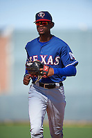 Texas Rangers Leody Taveras (37) during an Instructional League game against the Kansas City Royals on October 4, 2016 at the Surprise Stadium Complex in Surprise, Arizona.  (Mike Janes/Four Seam Images)