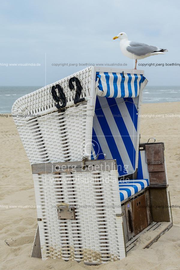 Germany, North Sea Island Sylt, seagull on beach chair