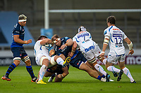 21st August 2020; AJ Bell Stadium, Salford, Lancashire, England; English Premiership Rugby, Sale Sharks versus Exeter Chiefs; WillGriff John of Sale Sharks tackles Dave Ewers of Exeter Chiefs