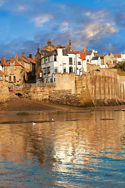 Beach & slipway of historic fishing village of Robin Hood's Bay, Near Whitby, North Yorkshire, England.