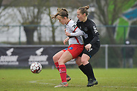 Zulte Waregem's forward Geena Lisa Buyle (L) and Woluwe's Stefanie Deville (R)  pictured during a female soccer game between SV Zulte - Waregem and White Star Woluwe on the 9th matchday of the 2020 - 2021 season of Belgian Scooore Women s SuperLeague , saturday 12 th of December 2020  in Waregem , Belgium . PHOTO SPORTPIX.BE | SPP | DIRK VUYLSTEKE