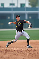Pittsburgh Pirates Jordan Luplow (27) during a minor league Spring Training game against the Toronto Blue Jays on March 24, 2016 at Pirate City in Bradenton, Florida.  (Mike Janes/Four Seam Images)