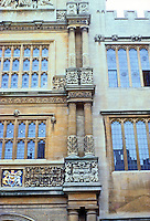 Oxford: Tower of the Five Orders, detail. From bottom--Doric, Tuscan, Ionic. Photo '87.