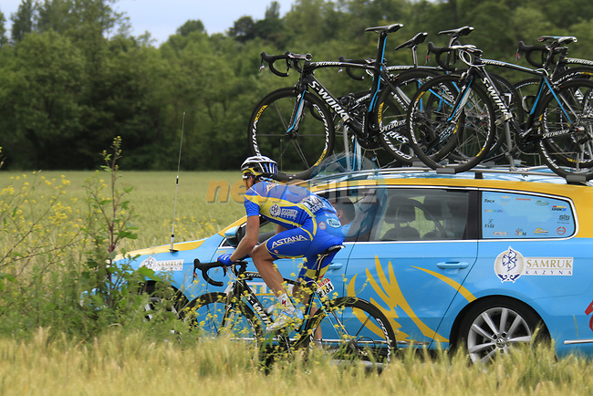 The breakaway group including Andriy Grivko (UKR) Astana Pro Team pass near the village of Aubers during Stage 3 of the 99th edition of the Tour de France 2012, running 197km from Orchies to Boulogne-sur-Mere, France. 3rd July 2012.<br /> (Photo by Eoin Clarke/NEWSFILE)