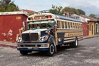 Antigua, Guatemala.  Bus to Guatemala City.  Agua Volcano in Background.